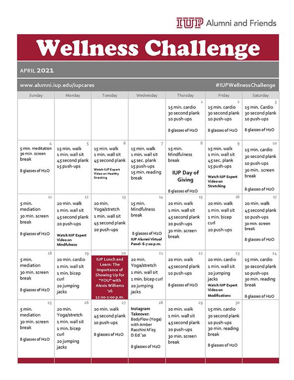 IUP Wellness Challenge Calendar
